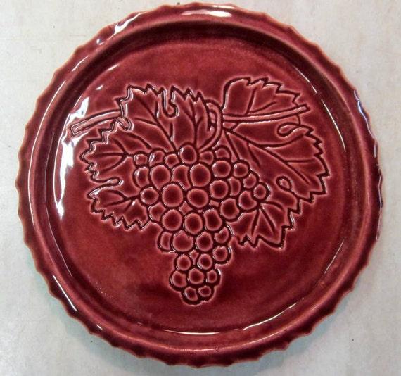 Ceramic Wine Bottle Coaster -- Grape Cluster Coaster in Royal Ruby glaze