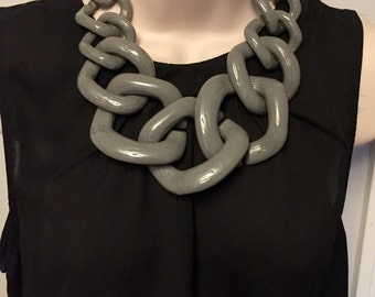 Gray Chunky Chain Link Grey Housewife Statement Necklace