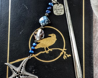 By the Sea - Bookmark with Mother of Pearl and Blue Pearl Beads, and Starfish Focal - READY TO SHIP!