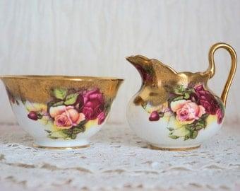 Vintage Royal Chelsea Creamer and Sugar Bowl