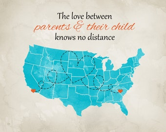 Parents Gift for Mom and Dad, Family Maps, Custom Art Print, Parents, Family Quotes, Long Distance Love, Relatives, Christmas Gift for Mommy