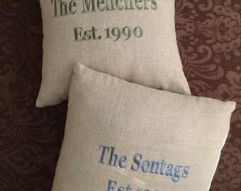 Monogram Pillows, Personalized Pillows, Est Pillows, Wedding Pillows