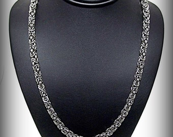 Handmade Polished Stainless Steel Chainmail Byzantine Necklace