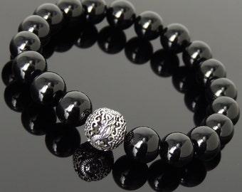 Men Women Bright Black Onyx Sterling Silver Bracelet Dragon Bead DiyNotion Handmade BR933