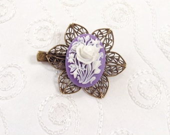 Spring Purple And White Floral Alligator Hair Clip