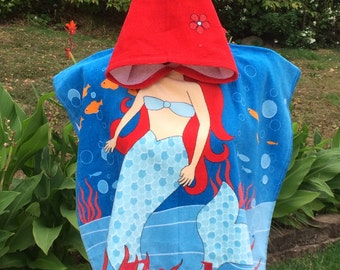 MERMAID Cotton Beach Poncho Towel Personalized