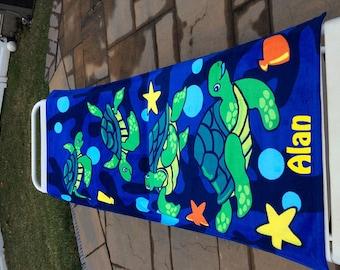 TURTLE Lagoon Beach Towel Personalized