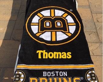 HOCKEY NHL Boston Bruins Beach Towel Personalized Beach Towel