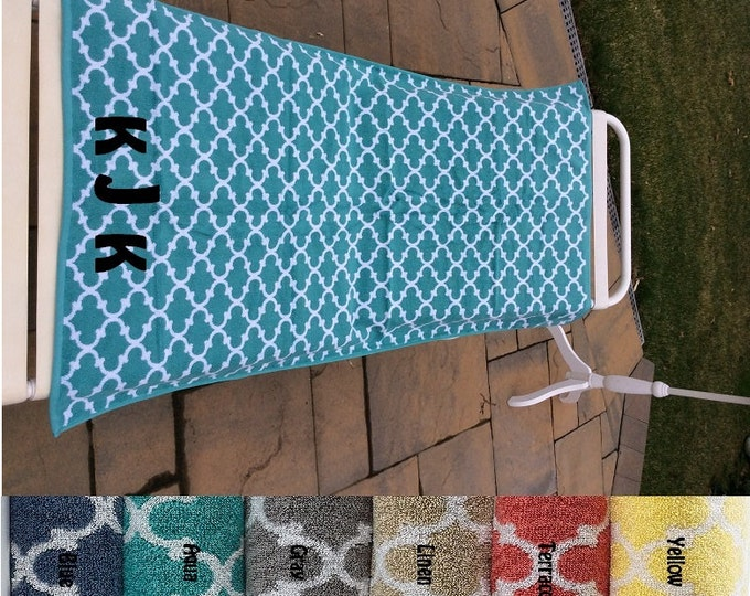 "Wedding Party Gifts LARGE Heavy thick thirsty LATTICE towel Personalized or Monogrammed 27"" x 52"" Personalized Beach Towel"