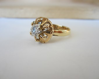 18k Yellow gold Diamond Ring, Promise Ring, Vintage Engagement Ring