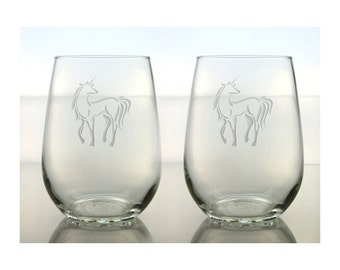 Unicorn Wine Glasses / Set of 2 / Free Personalization / Unicorn 17 oz Stemless Wine Glass / Personalized Glass / Personalized Gift