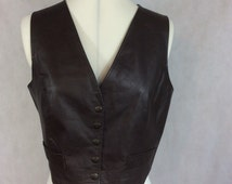 Vintage Leather Waistcoat Vest Brown Hippy Bohemian Boho Chic Small - Medium c1960s