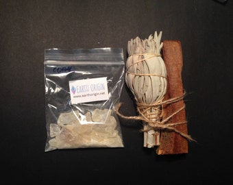 Smudge Kit Copal Resin,  Cslifornia White Sage, Palo Santo