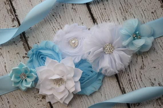 Flower Sash, light blue , white   Sash  , flower Belt, maternity sash