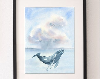 A3 Whale & Cloud Art Print, Whale Art, Wall Art, Whale Illustration, Water Colour Print, Whale, Nursery Art, Nursery Print, Fine Art Print