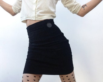 80s vintage MOSCHINO skirt black velvet mini pencil skirt elastic
