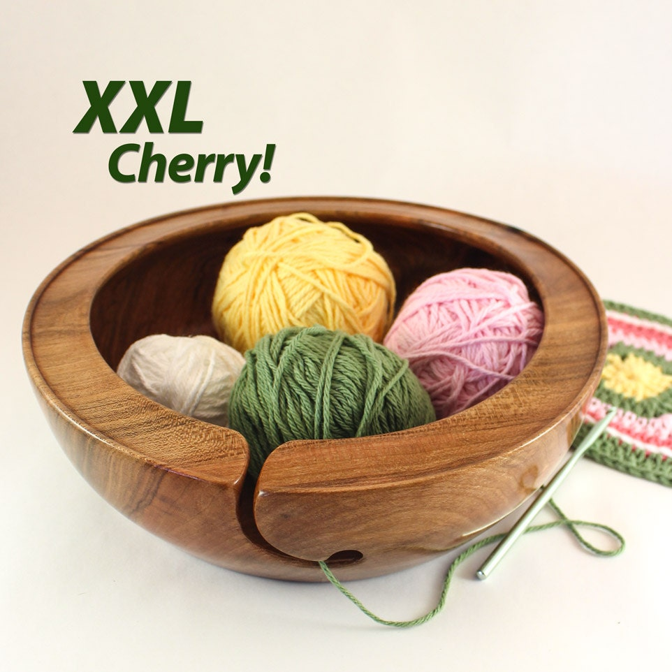 Xxl Knitting Yarn : Yarn bowl xxl project cherry wood wide rim gloss