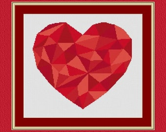 MOSAIC heart red/ mosaique coeur- Counted cross stitch pattern /grille point de croix ,Cross Stitch PDF, Instant download , free shipping