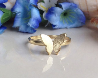 20% off-SALE!!! Stacking Ring - Butterfly Ring - Gold Ring - Slim Band Stack Ring - Stackable Ring - Thin 1.5mm Ring