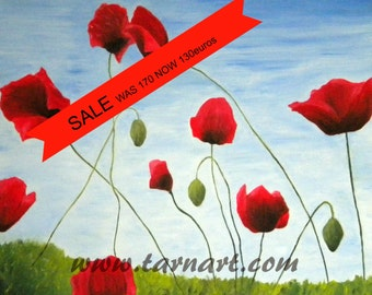 Original oil painting for sale.Art flower painting.  Poppy painting. Landscape art. Red poppies. Contemporary art.Oil painting