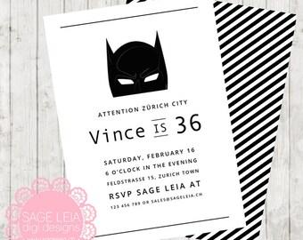 Custom Printable Superhero Batman Black White Modern Clean Boy Party Birthday Celebration Invitation Invite Card