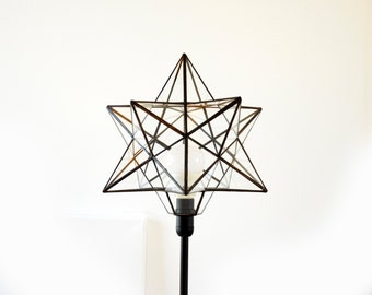 Stained Glass Lamp - Stained Glass Table Lamp - Geometric Lamp - Terrarium Glass Lamp