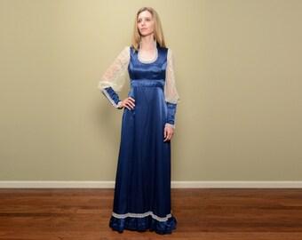 vintage 70s Gunne Sax dress Jessica McClintok medieval Renaissance royal blue lace sheer satin maxi dress 1970 S/M boho hippie dress