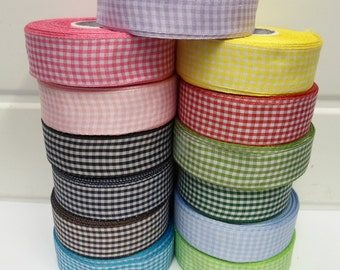 2 or 25 metres 25mm Gingham ribbon, double sided check