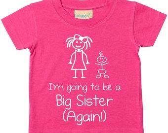 Big Sister Again Tshirt I'm Going To Be A Big Sister Again Tshirt New Baby Children New Born Gift Present