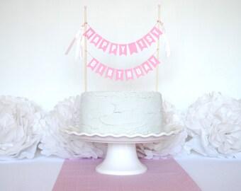 First Birthday Cake Topper for Girls - 1st Birthday Cake Banner - Girl's First Birthday Cake Bunting - Birthday Cake Topper Banner