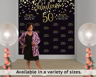 Fabulous 50 Birthday Personalized Photo Backdrop - Milestone Photo Backdrop- Step and Repeat Photo Backdrop- Custom Backdrop- Photo Booth
