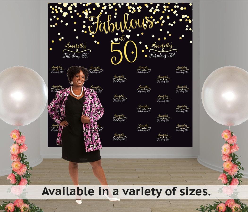 50 And Fabulous Backdrop: Fabulous 50 Birthday Personalized Photo Backdrop