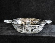 Fostoria Silver Overlay Crystal  Divided Candy Dish circa 1930s
