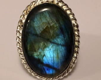 Labradorite  Oval Gemstone Ring set in 925 Sterling Silver Size 8 FREE SHIPPING