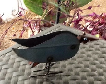 """Crow Sculpture in Metal. Unique Crow Sculpture. 10 1/2 """" Long, 6 1/2"""" Tall. Vintage. Collectible."""