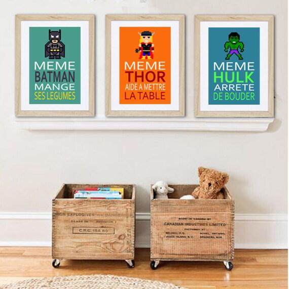 3 affiches superh ros avec citation humoristique pour. Black Bedroom Furniture Sets. Home Design Ideas
