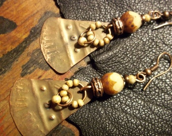 Copper Earrings-Rustic Bohemian Earrings-Tooled Artisan Earrings-Earthy Tribal Earrings-Boho Jewelry