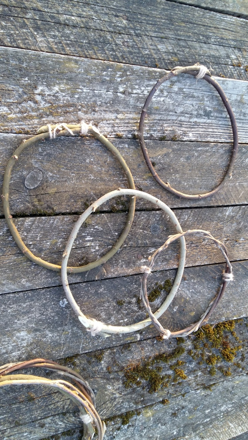 3 Twigs Hoops Dreamcatcher Circle Natural Willow Branches