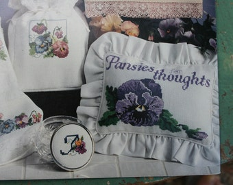 Cross Stitch Pansies Pattern Booklet - by Roberta Madeleine - Made in USA