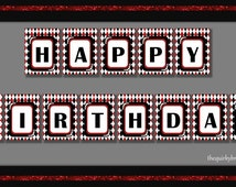 Vegas Casino / Happy Birthday Banner / 1920s Glamour Theme / Red Black White / Diamond Pattern / Gatsby / Printable PDF / Instant Download