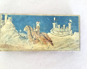 Vintage Italian Gold Paint Wood Jewelry Box Renaissance Scene