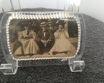Vintage Glass Paperweight Black & White Photo Family