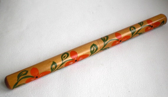Wooden Knitting Needle CaseNeedle Holder Floral Pattern