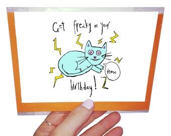 Freaky Orange Forest Birthday Card. 10.5 x 14.8 cm