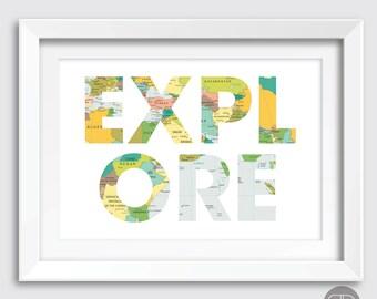 Explore Print, Travel Art, Travel Print, Map Print, Explore, Map Art, Instant Download, Download Instantly, Printable