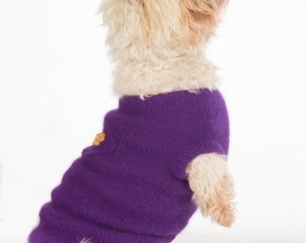 Purple With Gold Lame' Crown Handknit (Eco Friendly)Mink Dog Sweater