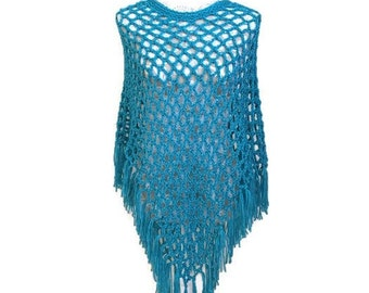 Light and Airy Poncho in Aqua