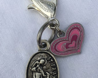 Heart St. Francis of Assisi Pet Charm | Blessing of the Pets Charm | Catholic Dog Charm | Catholic Cat Charm | St. Francis of Assisi Charm