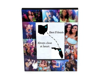 Long Distance State to State Best Friend Gift I miss you Friendship Frame Custom Cities Never Apart Miles Apart Going Away Moving
