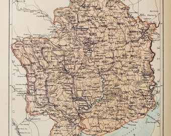 Antique Map of Monmouthshire. Encyclopedia Britannica, 1870s